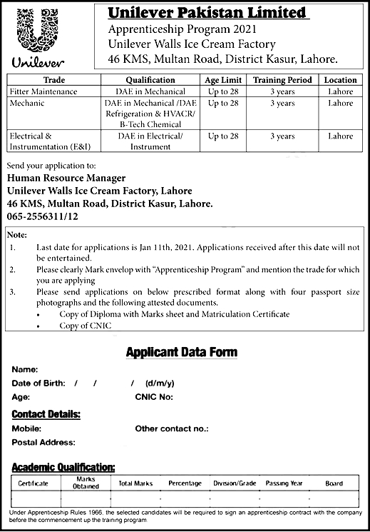 Unilever Pakistan Limited Jobs 2021 Wall Ice Cream Lahore