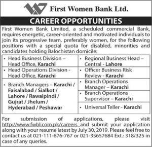 First Women Bank Limited FWBL Jobs 2019 Apply Online 1
