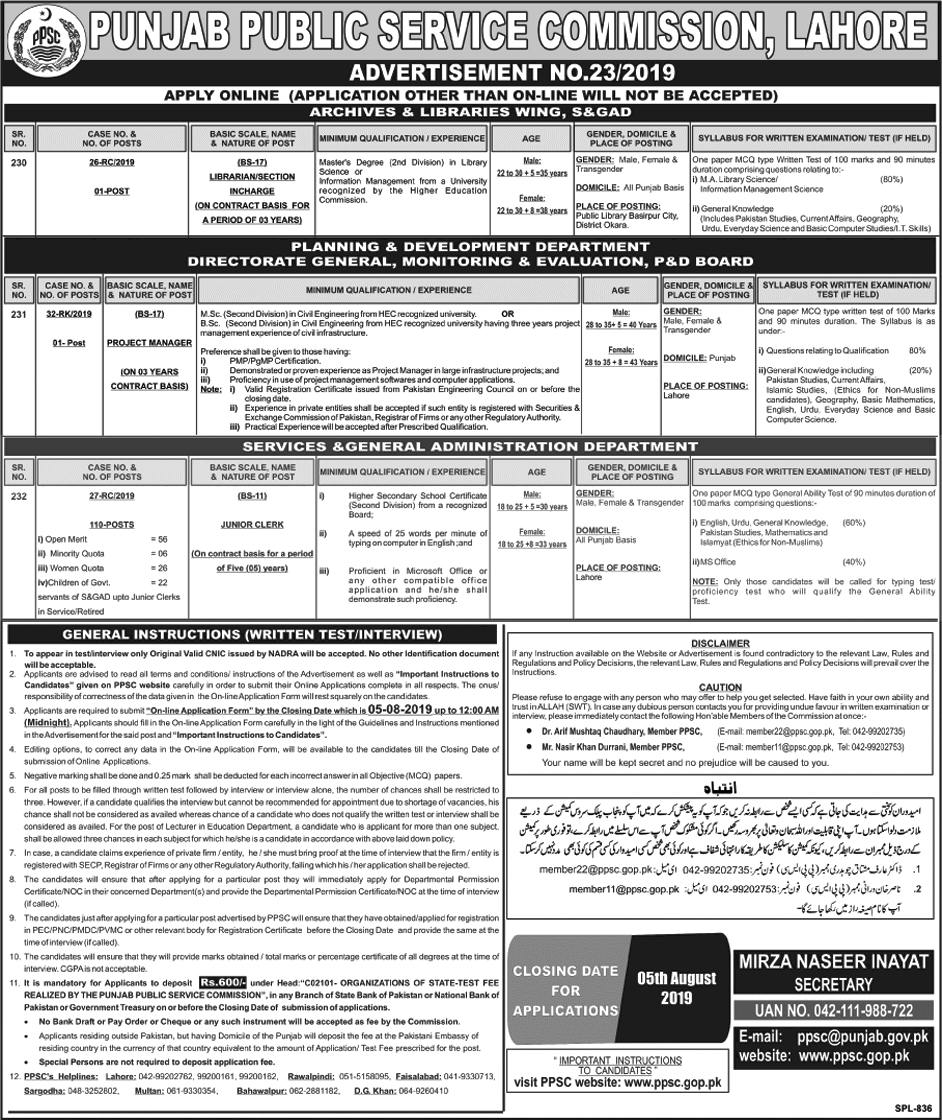 Services and General Administration Department Punjab PPSC Jobs 2019