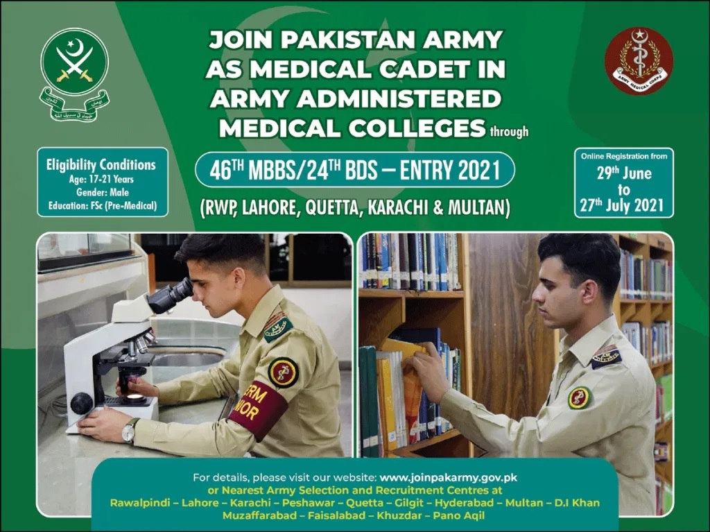 Join Pak Army as Medical Cadet 2021 through 46th MBBS /24th BDS Course