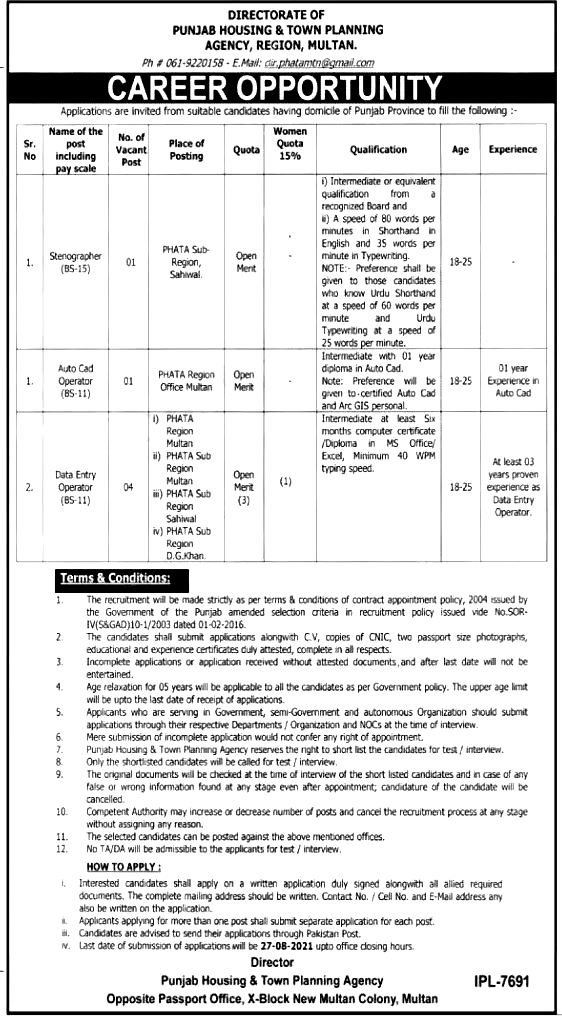 Punjab Housing And Town Planning Agency PHATA Jobs 2021