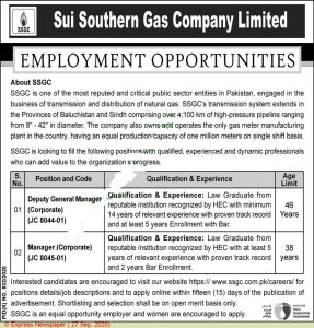 Sui Southern Gas Company SSGC Pakistan Jobs 2020 Apply Online 1
