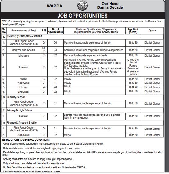 Latest Wapda Jobs 2021 Application Form Download Written Test Result