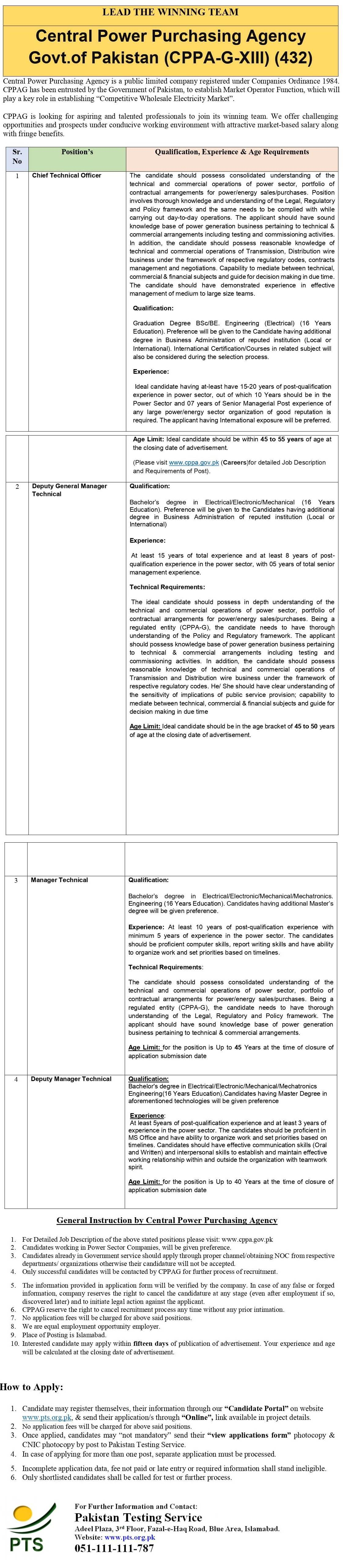 Central Power Purchasing Agency GXIII PTS Jobs 2021