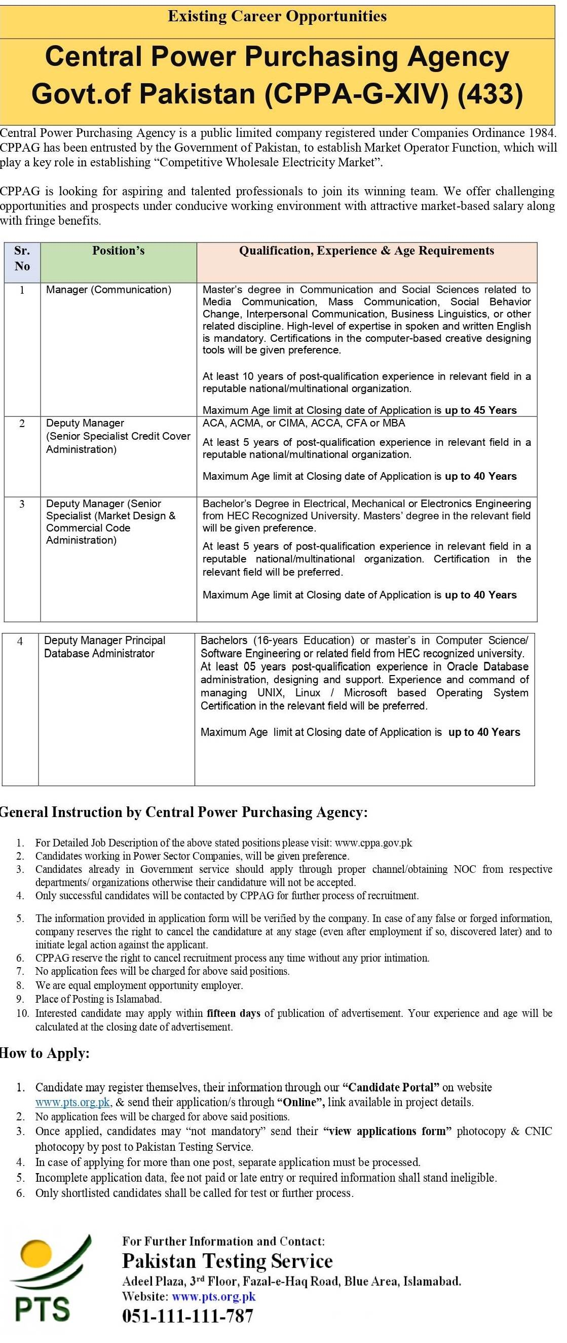 Central Power Purchasing Agency GXIV PTS Jobs 2021
