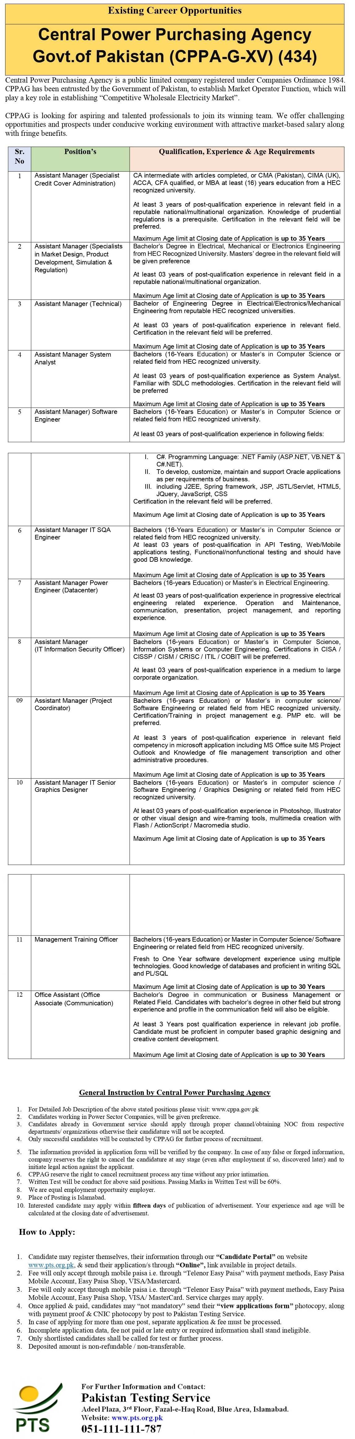 Central Power Purchasing Agency GXV PTS Jobs 2021