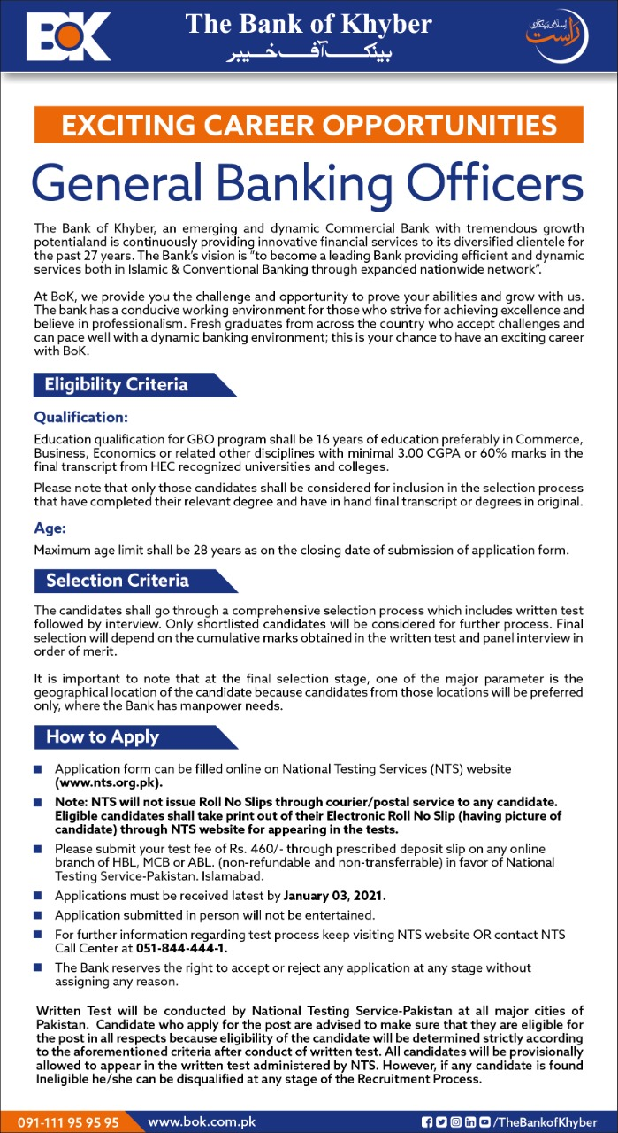 Bank of Khyber General Banking Officers NTS Jobs 2021 1