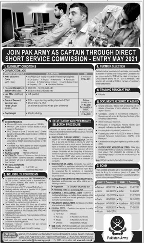 Join Pak Army as Captain Through Direct Short Service Commission 2021 1