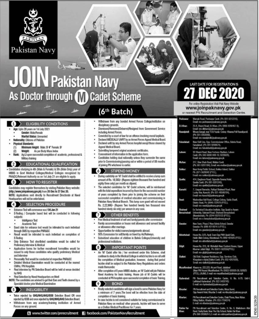 Join Pakistan Navy as Doctor through M Cadet Scheme Batch 6 2020