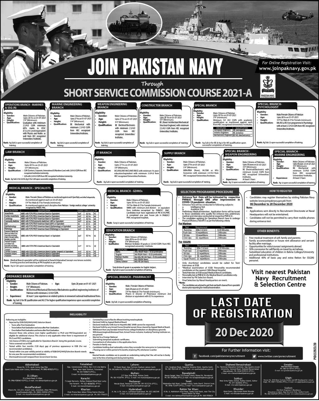 Join Pakistan Navy through Short Service Commission Course 2021-A Online Registration Eligiblity Criteria