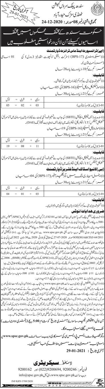 Transport and Mass Transit SPSC Jobs 2021 1
