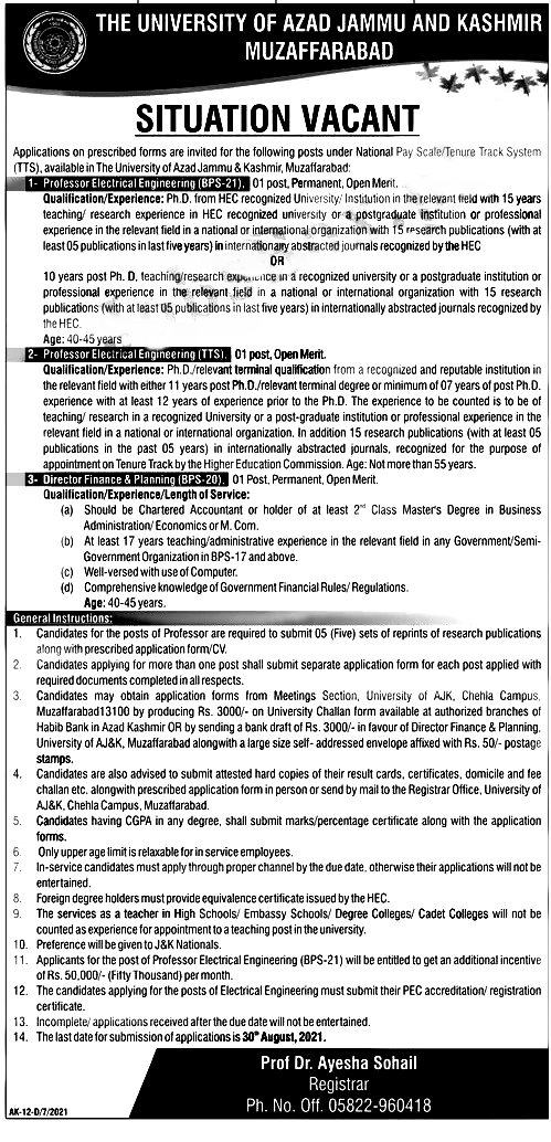 University of Azad Jammu Kashmir UAJK Jobs 2021