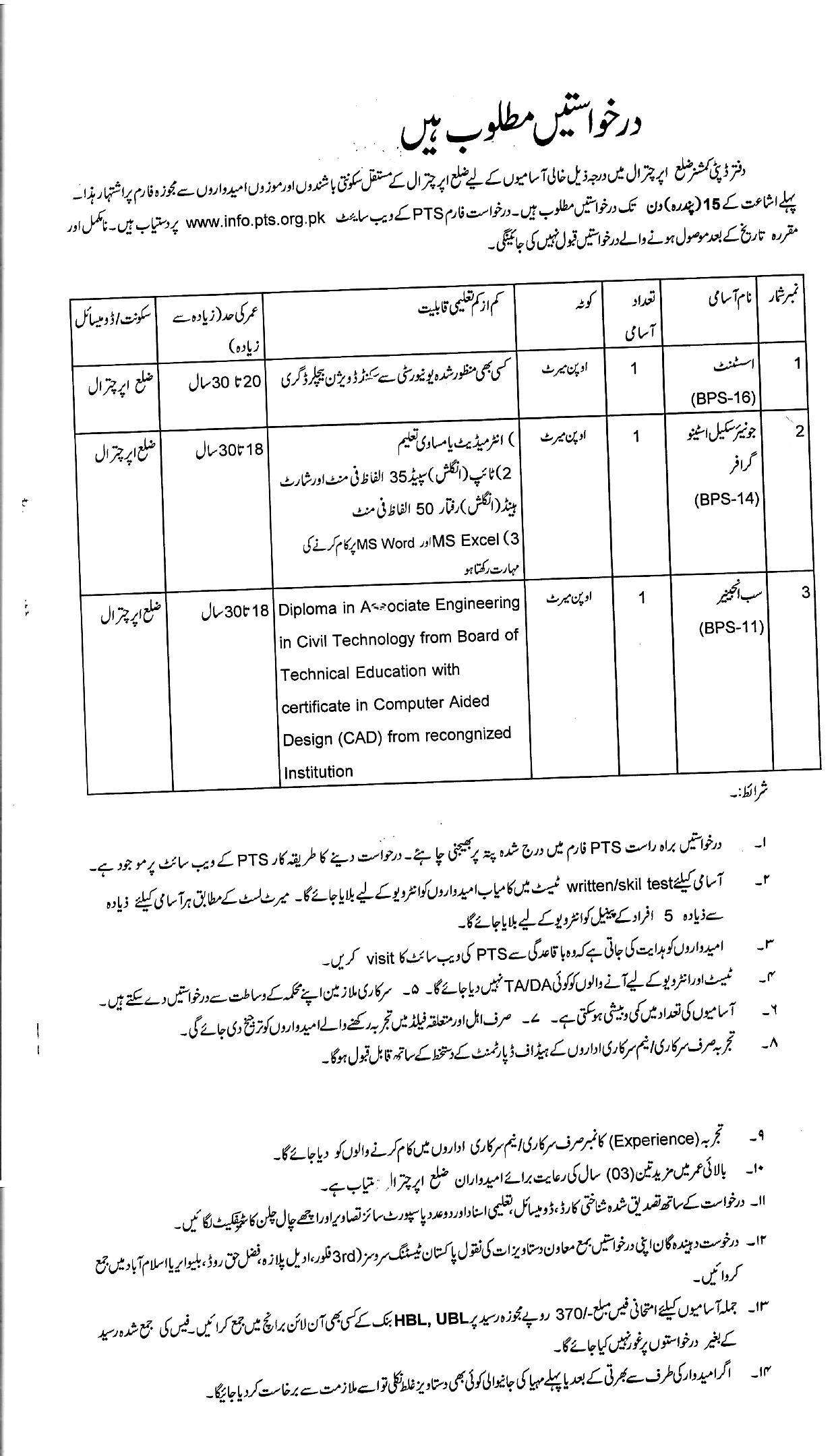 Deputy Commissioner Office Chitral PTS Jobs 2021