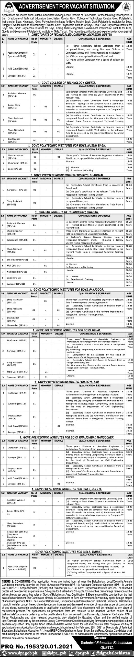 Directorate of Technical Education Balochistan Jobs 2021