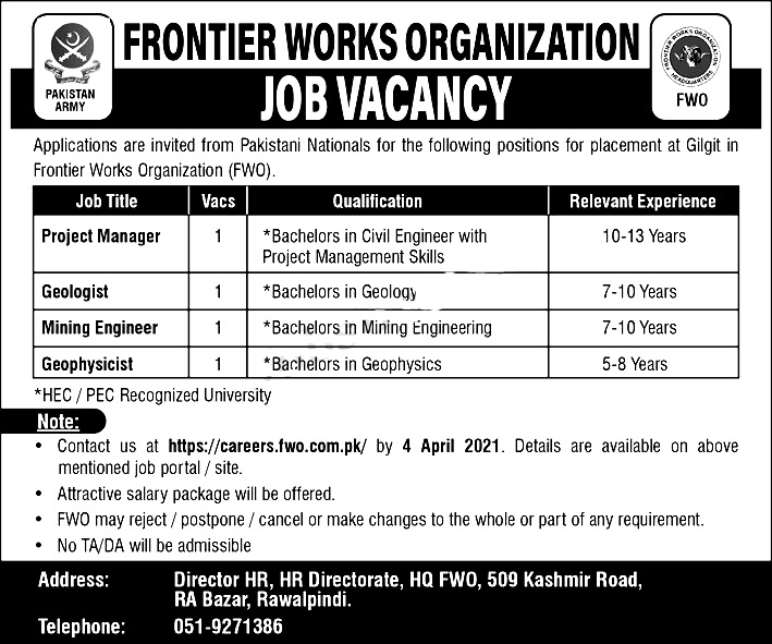 Frontier Works Organization FWO Rawalpindi Jobs 2021