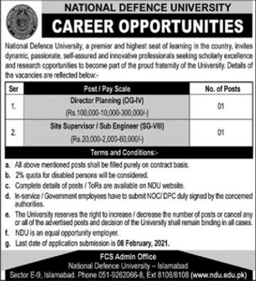 National Defence University NDU Islamabad Jobs 2021