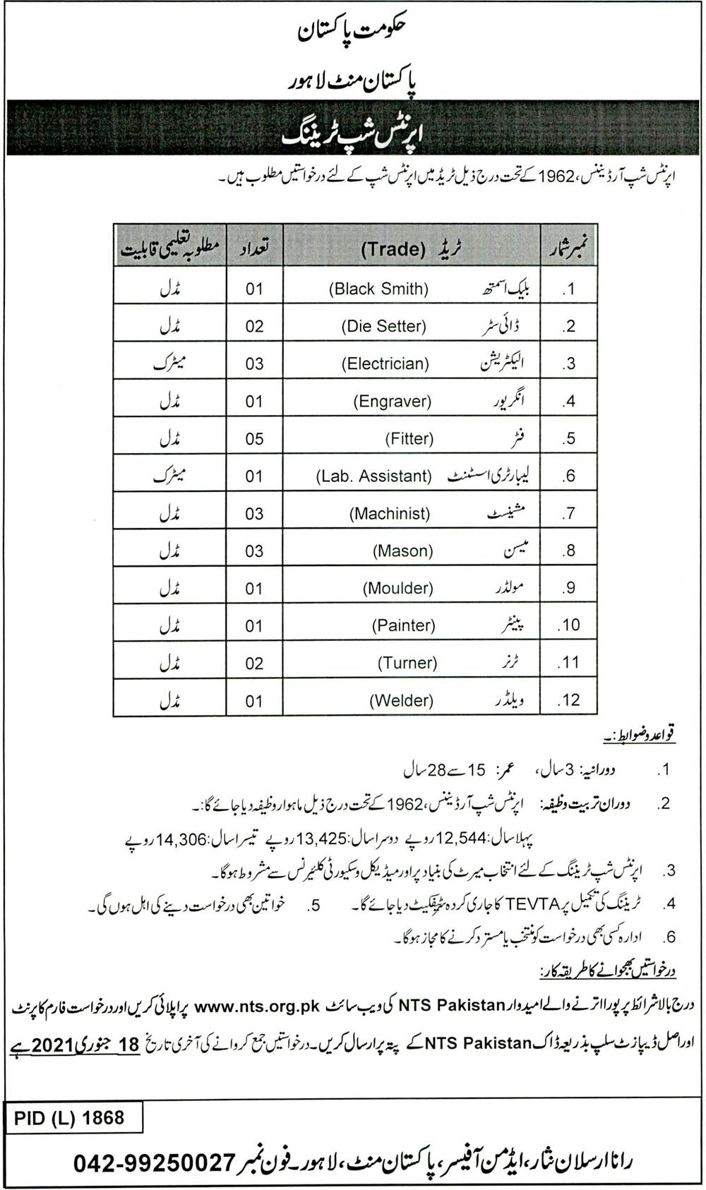 Pakistan MINT Lahore NTS Jobs 2021
