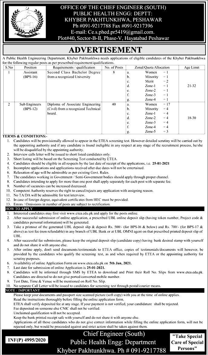 Public Health Engineering ETEA Jobs 2021