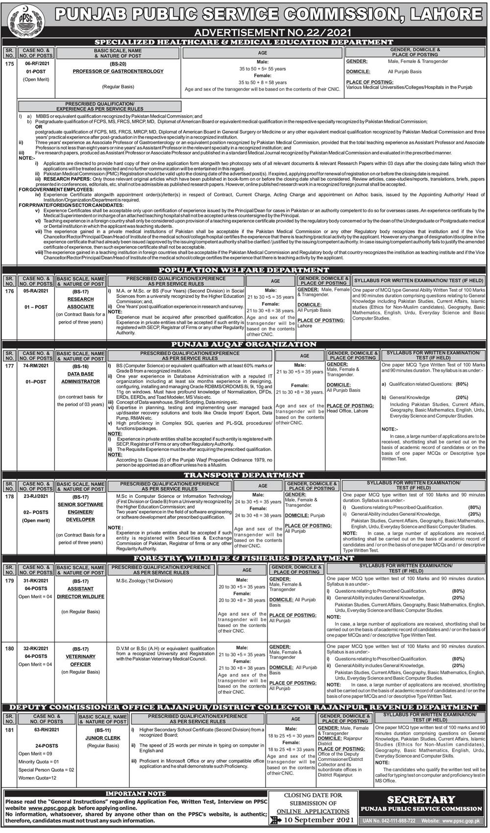 Specialized Healthcare & Medical Education Department PPSC Jobs 2021