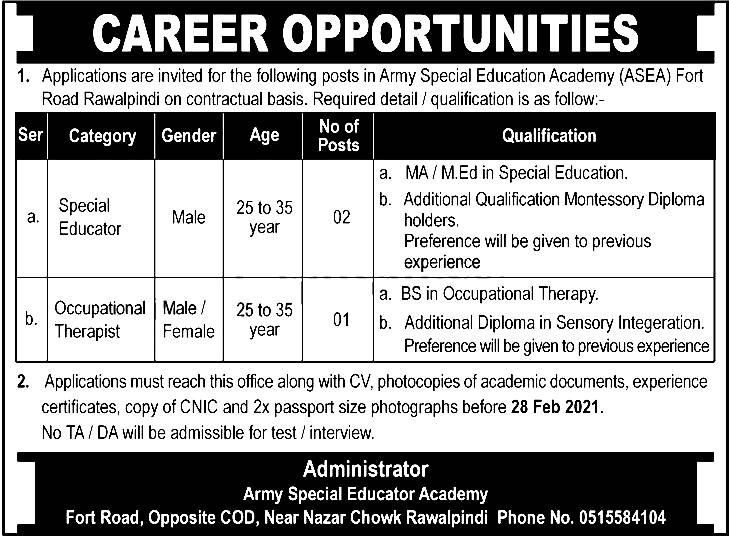 Army Special Education Rawalpindi Jobs 2021