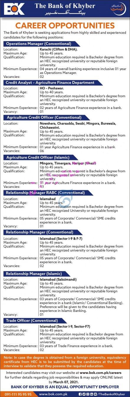 Bank of Khyber BOK Jobs 2021