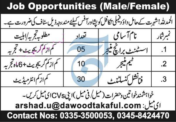 Dawood Family Takaful Peshawar Jobs 2021