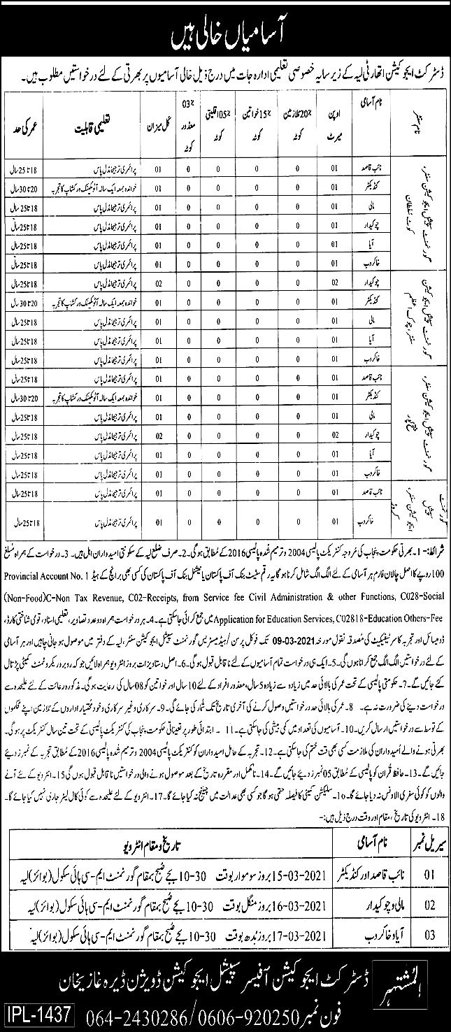 District Education Authority Layyah Jobs 2021