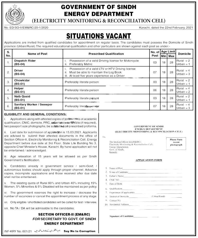Energy Department Sindh Jobs 2021