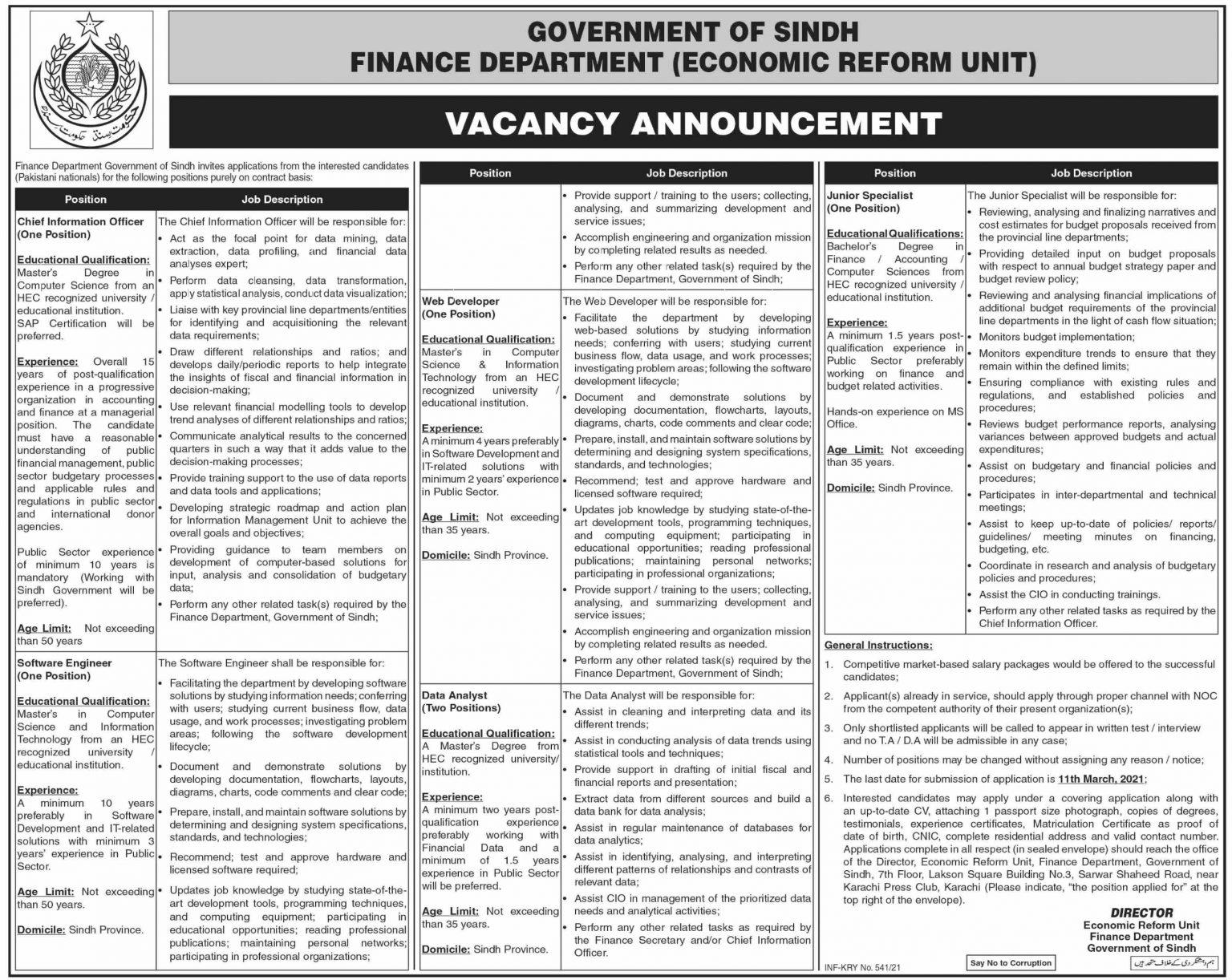 Finance Department Sindh Jobs 2021 1