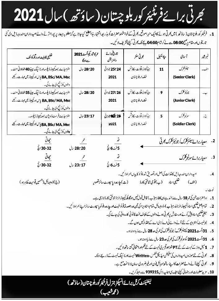 Frontier Corps Balochistan Jobs 2021