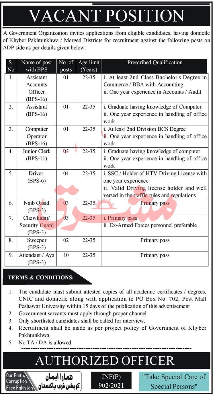 Government Organization PO Box No 702 Peshawar Jobs 2021