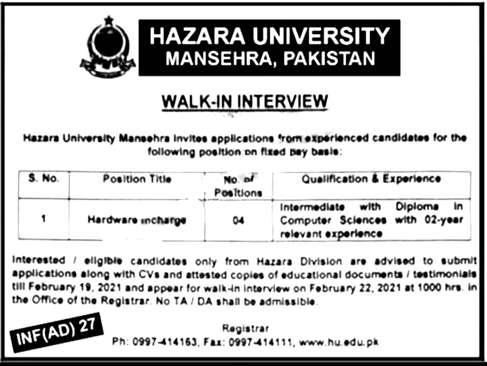 Hazara University Mansehra Jobs 2021