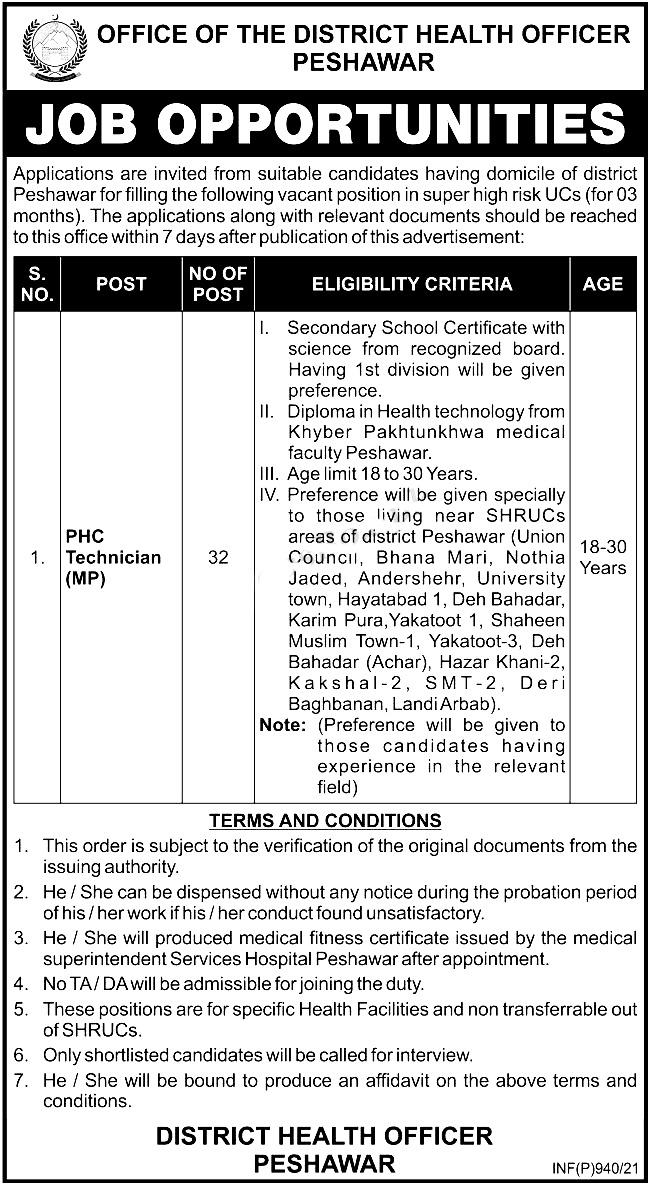 Health Department District Health Officer Peshawar Jobs 2021