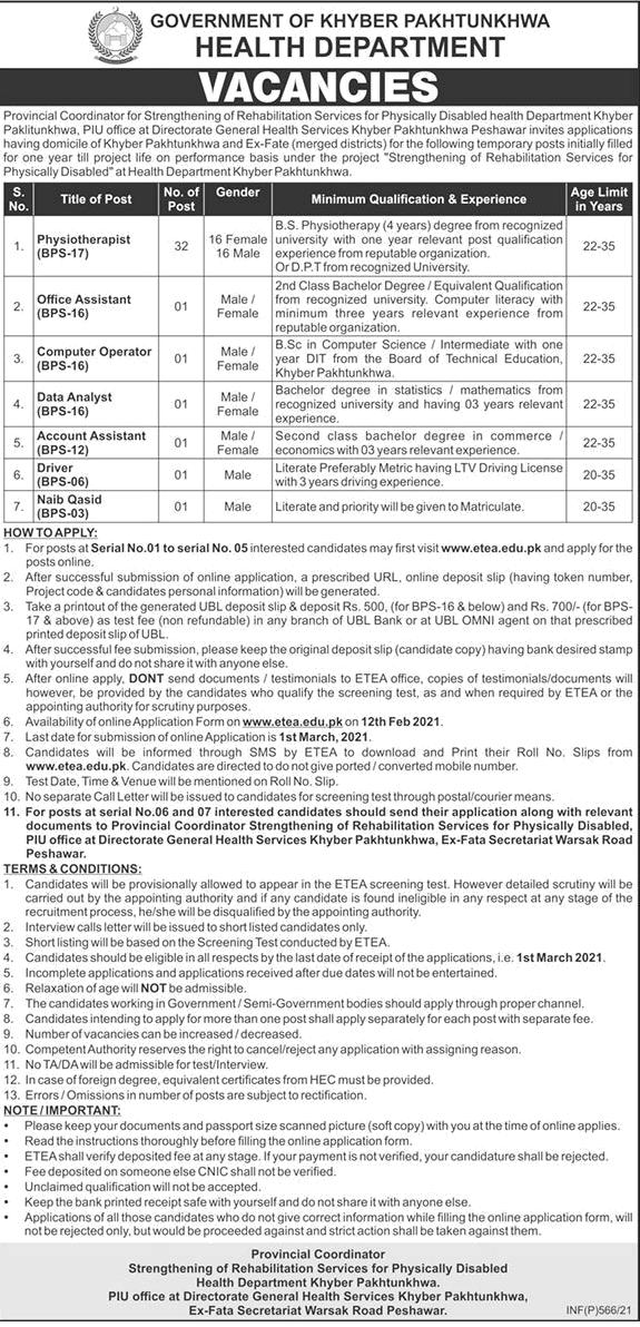 Health Department KPK ETEA Physiotherapists Jobs 2021