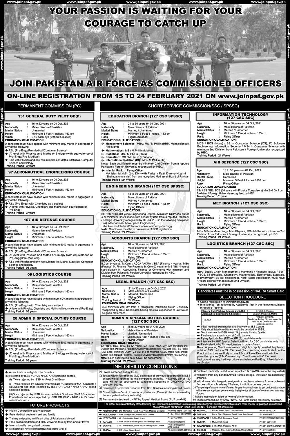 Join PAF Jobs 2021 as Commissioned Officer