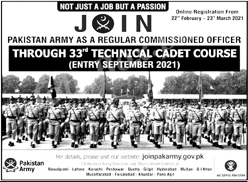 Join Pak Army Jobs 2021 as Regular Commissioned Officer