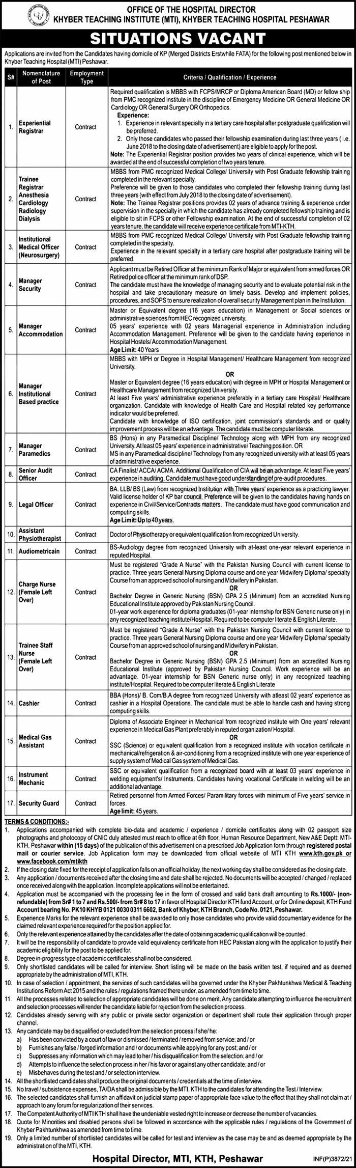 Khyber Teaching Hospital KTH Peshawar Jobs 2021