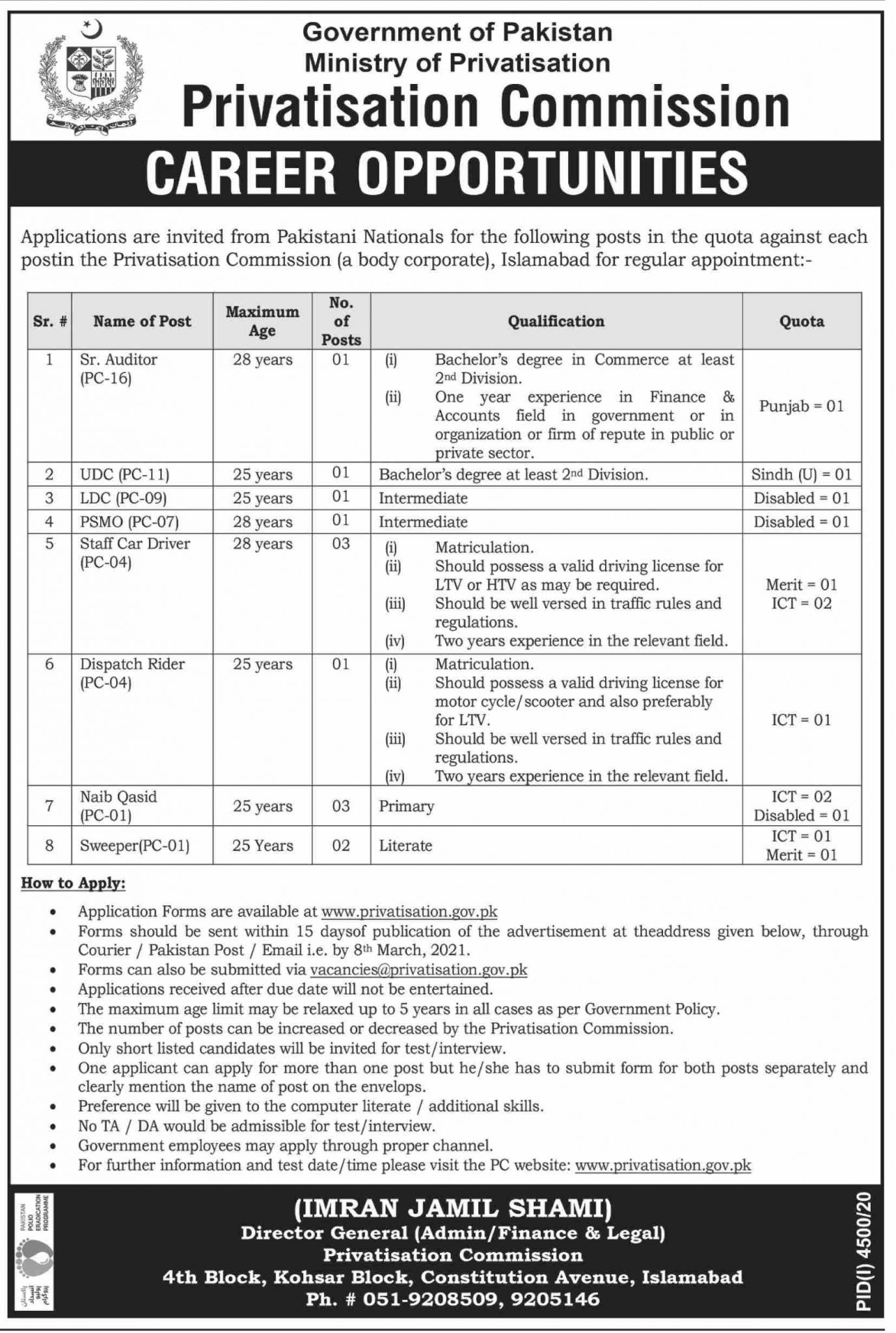 Ministry of Privatisation Commission Pakistan Jobs 2021 1