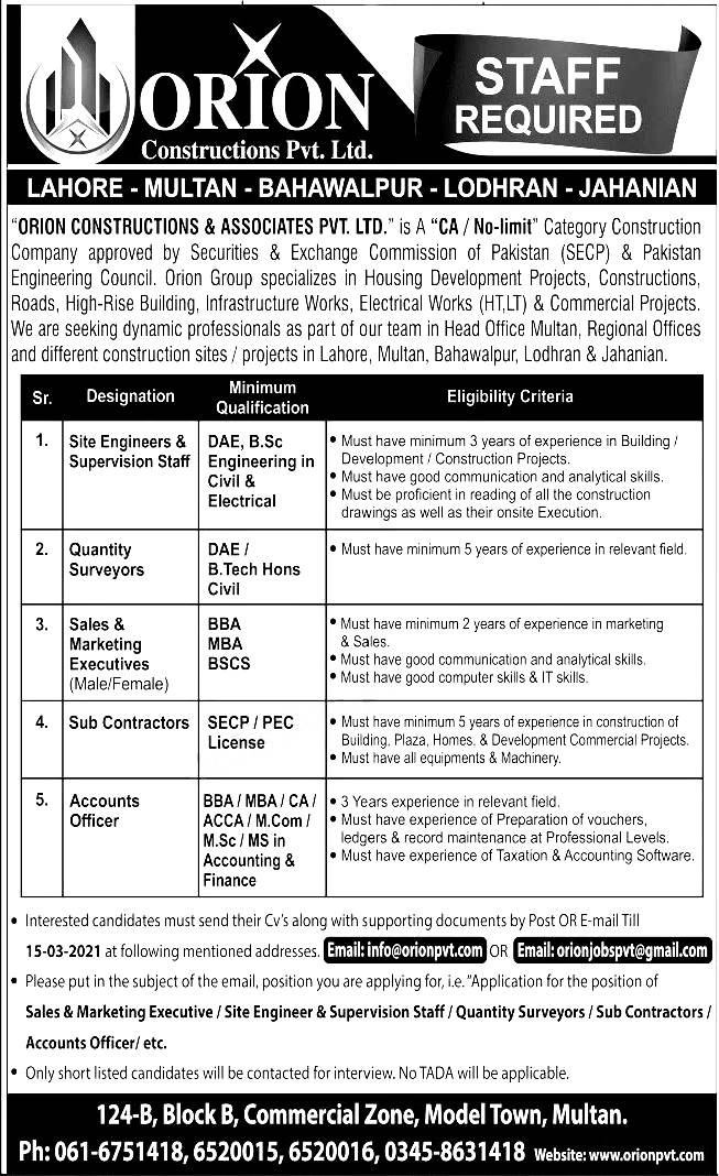ORION Construction Private Limited Jobs 2021