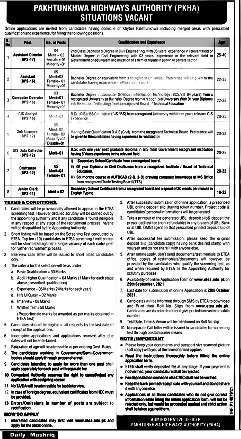 Pakhtunkhwa Highways Authority PKHA ETEA Jobs 2021