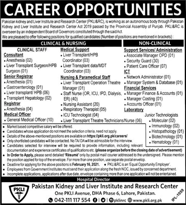 Pakistan Kidney and Liver Institute Jobs 2021