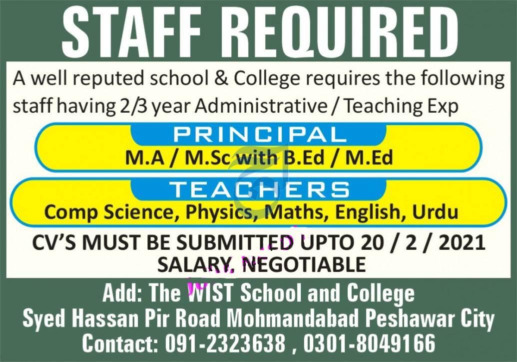 Principal and Teachers Jobs in Peshawar 2021