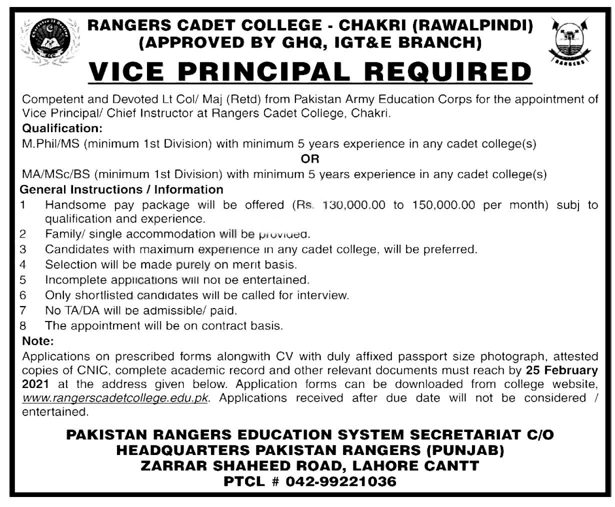 Rangers Cadet College Chakri Jobs 2021