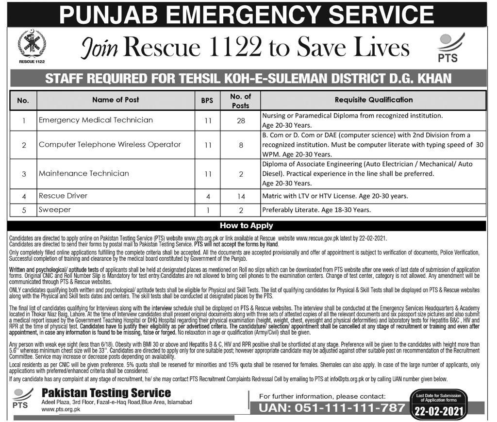 Rescue 1122 Medical Technician DG Khan PTS Jobs 2021