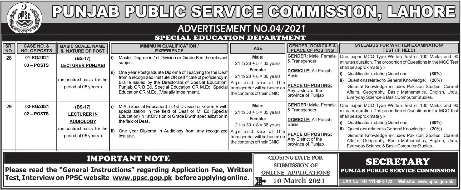 PPSC Special Education Department Jobs 2021