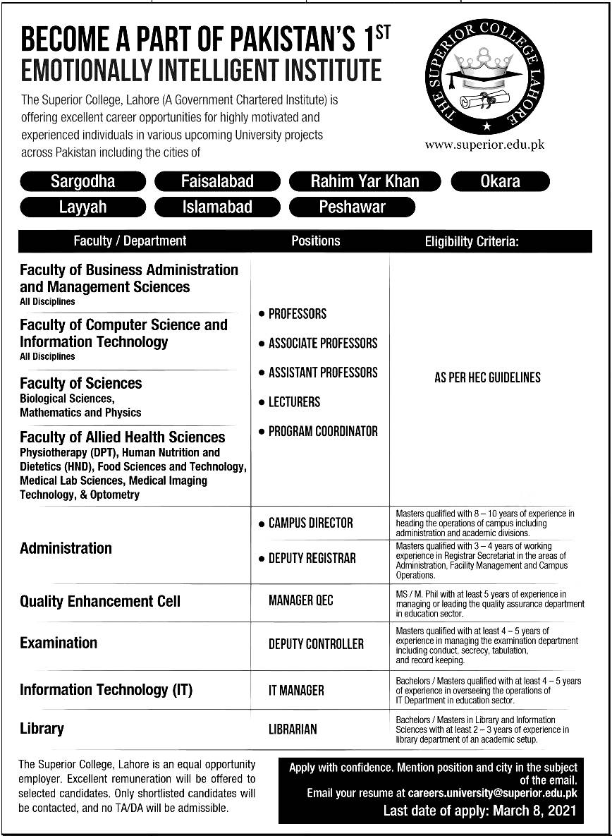 The Superior College Lahore Jobs 2021