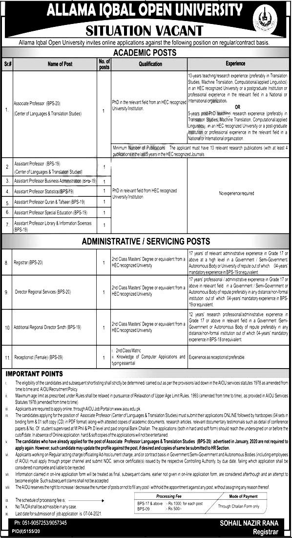 Allama Iqbal Open University AIOU Jobs 2021