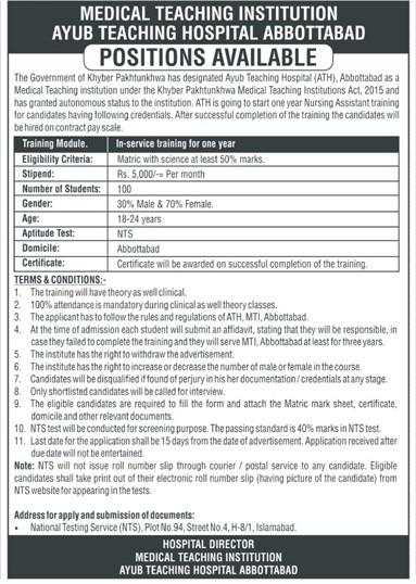Ayub Teaching Hospital ATH NTS Charge Nurse Jobs 2021
