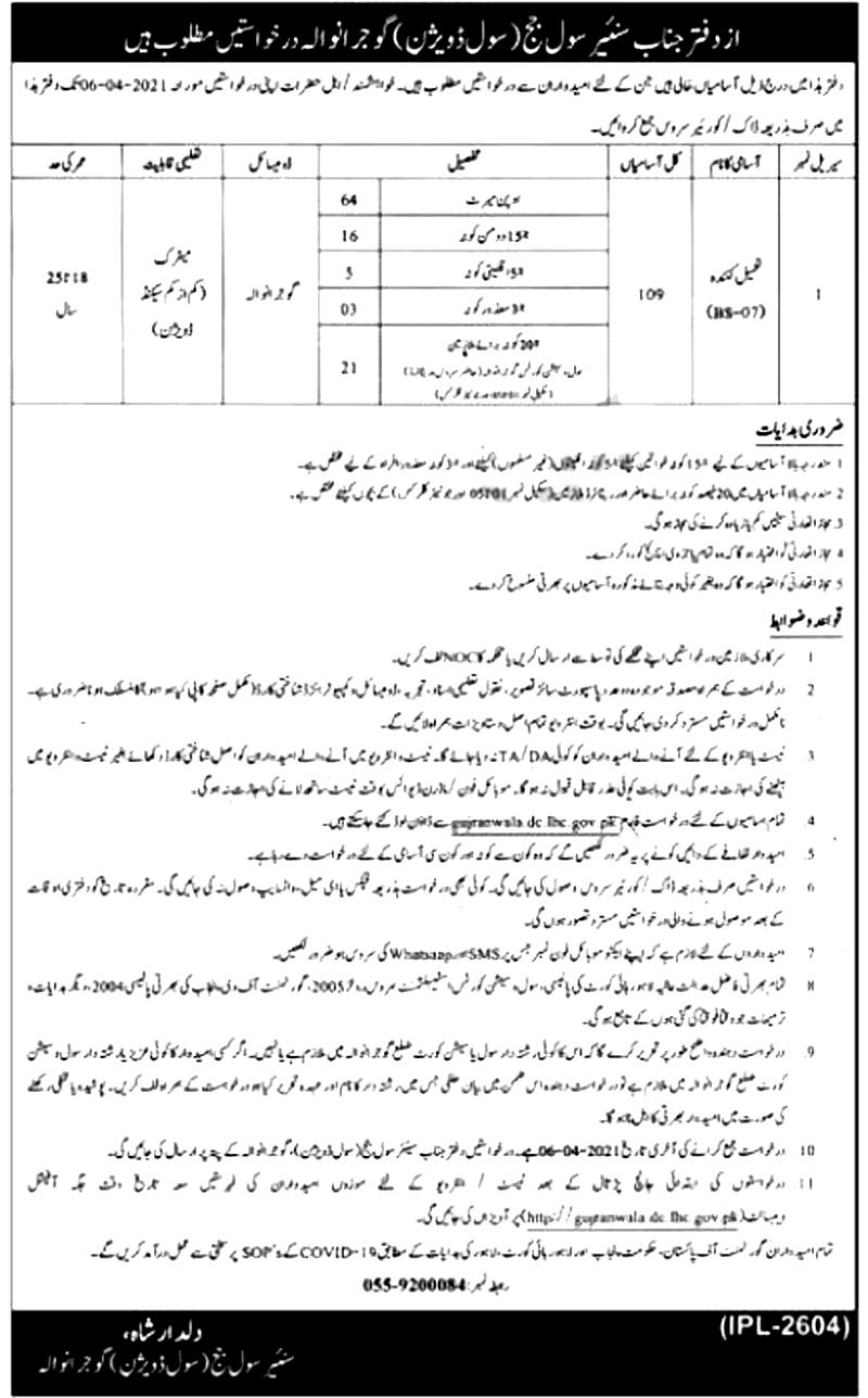 Civil Courts Gujranwala Jobs 2021