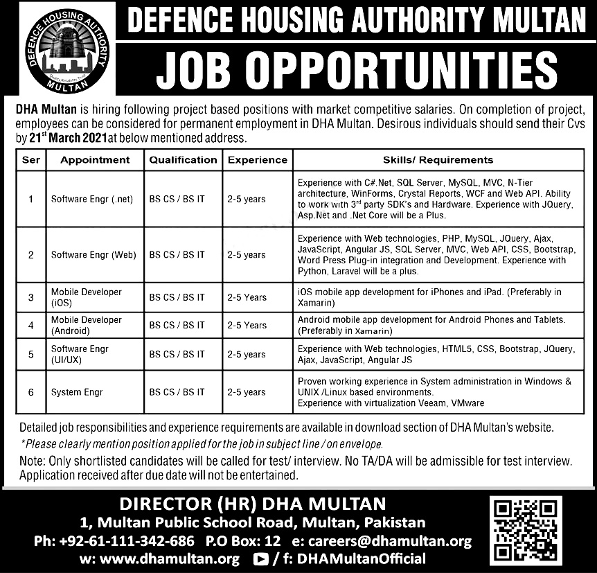 Defence Housing Authority DHA Multan Jobs 2021